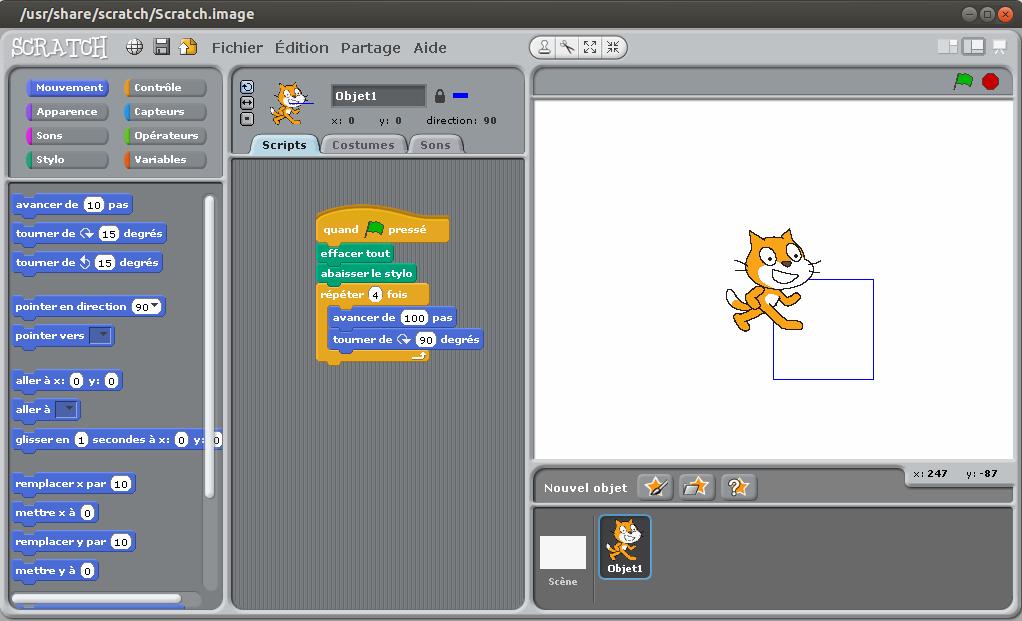 Capture d'écran de Scratch